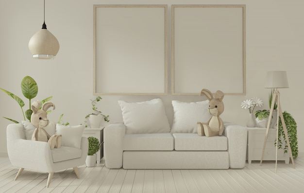 Cadre d'affichage et canapé blanc sur l'intérieur du salon blanc. rendu 3d