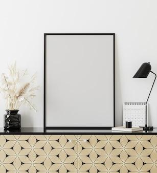 Cadre d'affiche dans un intérieur moderne avec mur blanc, lampe de table, calendrier et commode imprimée dorée, intérieur d'armoire de bureau à domicile, rendu 3d