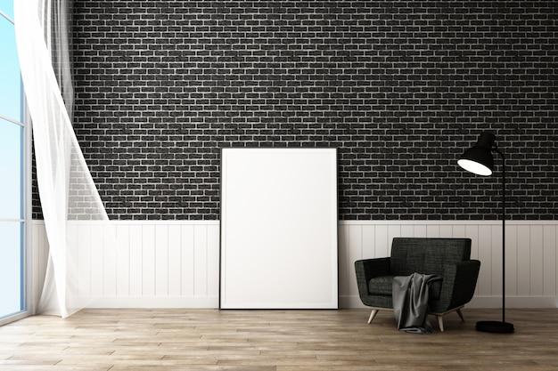 Cadre affiche avec décorer mur de briques et fauteuil style scandinave rendu 3d