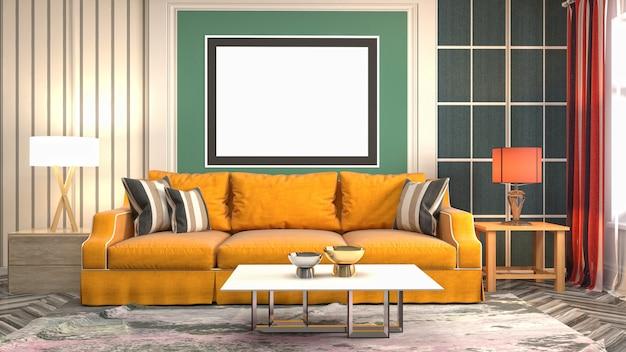 Cadre d'affiche d'illustration en arrière-plan intérieur