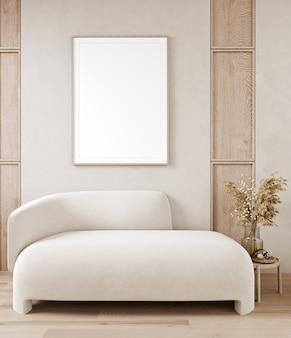 Cadre d'affiche de maquette en arrière-plan intérieur de maison, salon de style scandi boho, rendu 3d