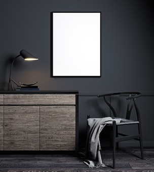 Cadre d'affiche de maquette en arrière-plan intérieur noir moderne, style scandinave, rendu 3d, illustration 3d