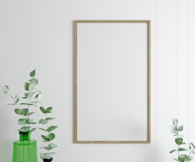 Cadre, affiche maquette dans un salon blanc avec des plantes. intérieur scandinave, rendu 3d.