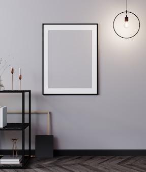 Cadre d'affiche de maquette en fond intérieur lumineux loft moderne, rendu 3d, illustration 3d
