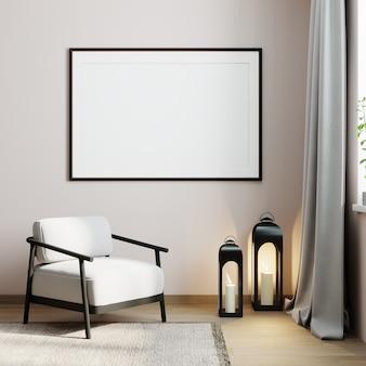 Cadre d'affiche de maquette sur fond intérieur moderne minimaliste, rendu 3d