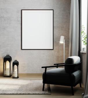 Cadre d'affiche maquette sur fond intérieur moderne, salon, style scandinave, rendu 3d, illustration 3d