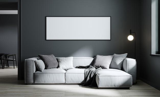 Cadre d'affiche maquette sur fond intérieur de salon moderne avec canapé gris clair et mur gris, style scandinave minimaliste, illustration 3d