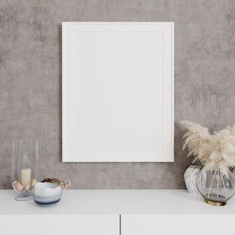 Cadre d'affiche de maquette en gros plan sur un mur gris avec décor, rendu 3d