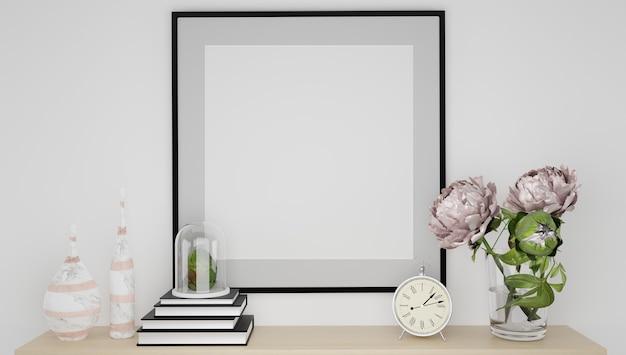 Cadre d'affiche de maquette se bouchent dans un intérieur moderne minimaliste