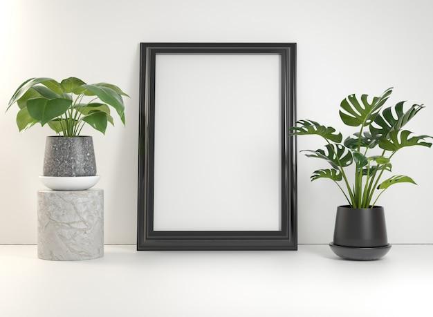 Cadre affiche noir maquette avec des plantes sur un mur blanc rendu 3d