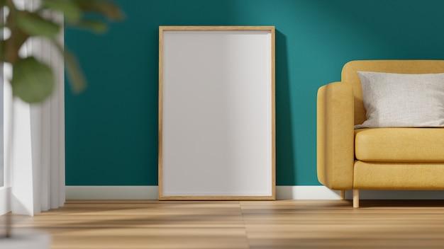Cadre d'affiche photo intérieure et chaise de canapé jaune près de la fenêtre