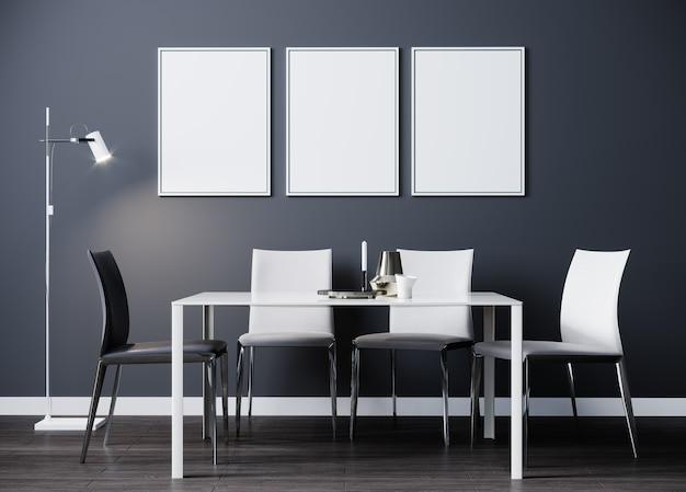 Cadre d'affiche vertical noir maquette dans la salle à manger