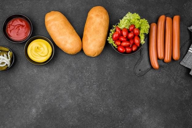 Cadre alimentaire vue de dessus avec espace copie