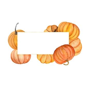 Cadre aquarelle avec des citrouilles d'automne. composition florale avec des citrouilles de couleur.