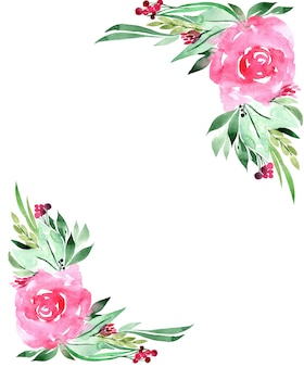 Cadre aquarelle de fleurs, isolé sur blanc.