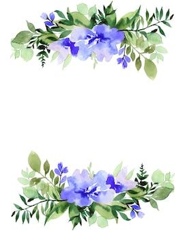 Cadre aquarelle avec des fleurs, isolé sur fond blanc. parfaitement pour la fête des mères, mariage, anniversaire, pâques, saint valentin, carte de noël.