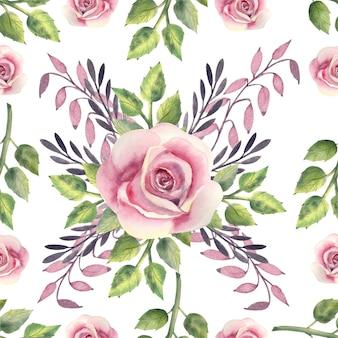 Cadre aquarelle avec des fleurs