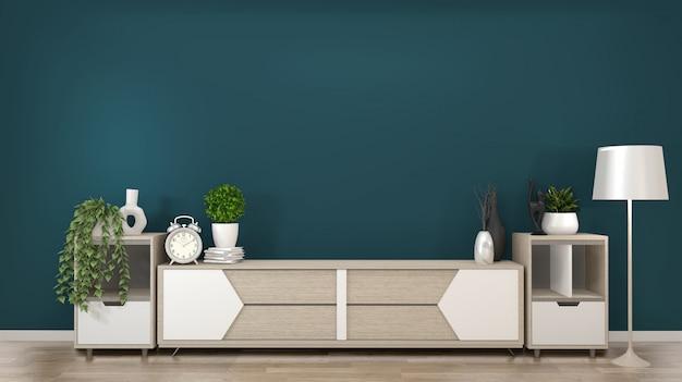 Cadre sur les armoires en bois tv dans une pièce vert foncé et decoration.3d rendering