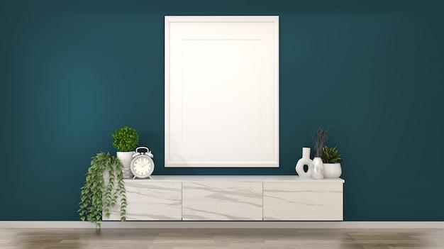 Cadre sur des armoires en granit dans une pièce vert foncé et rendu.3d rendu