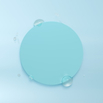 Cadre arrondi avec gouttelettes d'eau. rendu 3d