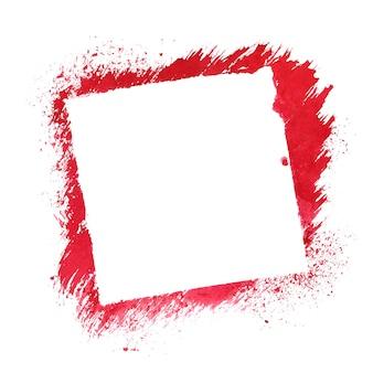 Cadre au pochoir carré rouge isolé sur fond blanc
