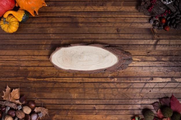 Cadre automnal dans un fond de bois avec un morceau de bois au milieu
