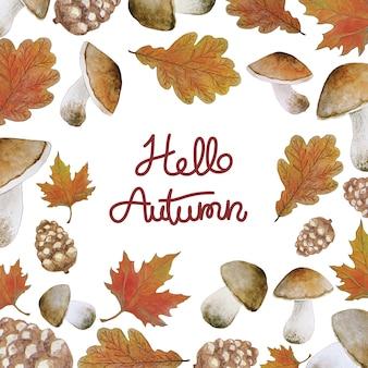 Cadre automne aquarelle