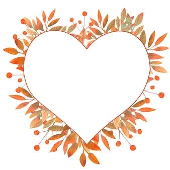 Cadre d'automne de feuilles en forme de coeur