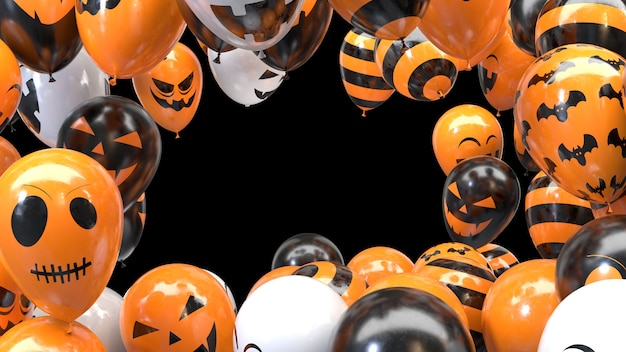 Cadre de ballon halloween rendu 3d