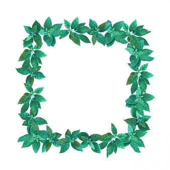 Cadre à base de plantes aquarelle verte.