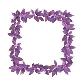 Cadre à base de plantes aquarelle violet.