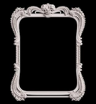 Cadre blanc classique avec décor d'ornement isolé sur fond noir. illustration numérique. rendu 3d