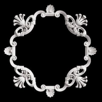 Cadre blanc classique avec décor d'ornement isolé sur fond noir