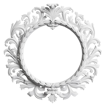 Cadre blanc classique avec décor d'ornement isolé