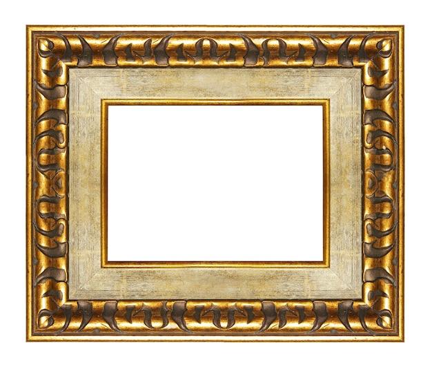 Cadre blanc élégant avec des bordures dorées isolé sur blanc