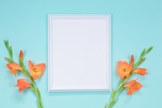 Cadre blanc avec des fleurs de glaïeul orange. carte postale