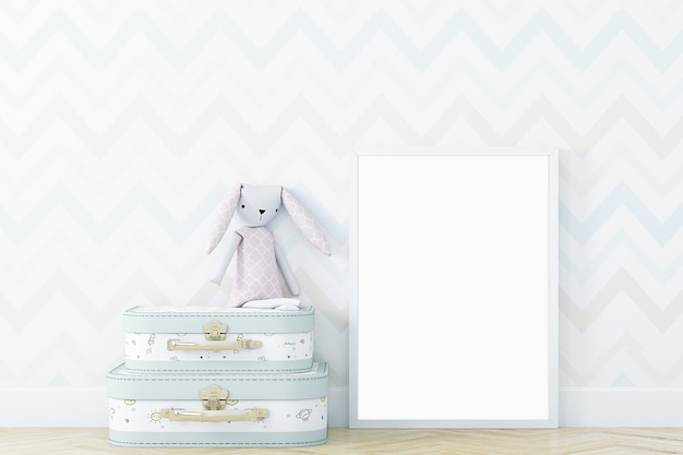 Cadre blanc mock up dans une jolie chambre d'enfants