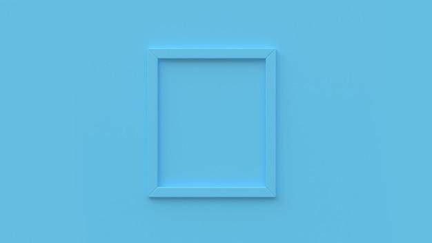 Cadre bleu minimal sur le mur de fond abstrait rendu 3d