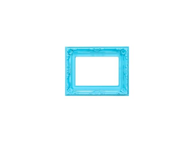 Cadre bleu pour photo, espace vide. concept de souvenirs. fond blanc. maquette