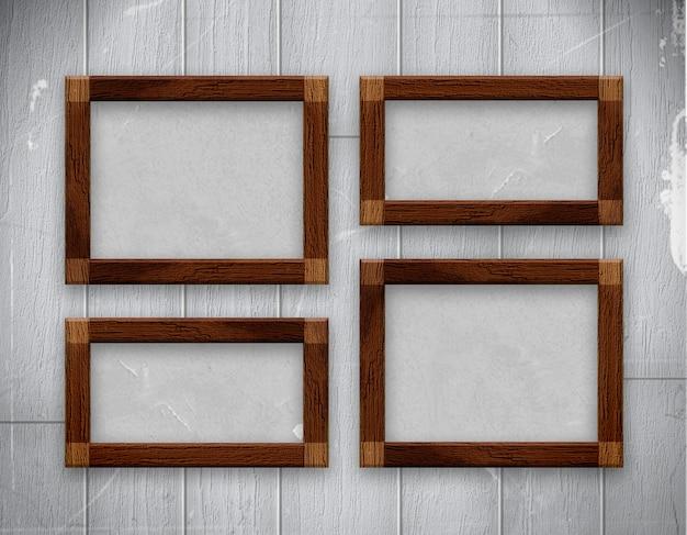 Cadre en bois photo sur vieux mur en bois