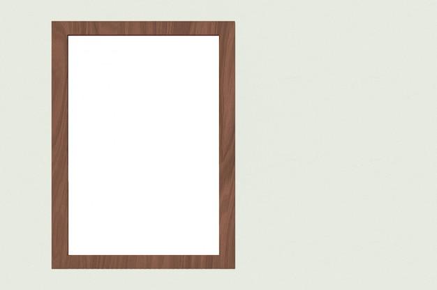 Cadre en bois rectangle vertical avec blanc maquette espace sur fond de mur de ciment.