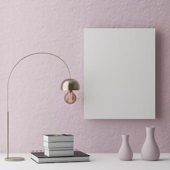 Cadre en bois vertical maquette sur fond de mur rose avec des plantes, illustration 3d