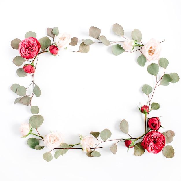 Cadre de bordure avec des boutons de fleurs roses rouges et beiges et des branches d'eucalyptus isolés sur fond blanc. mise à plat, vue de dessus