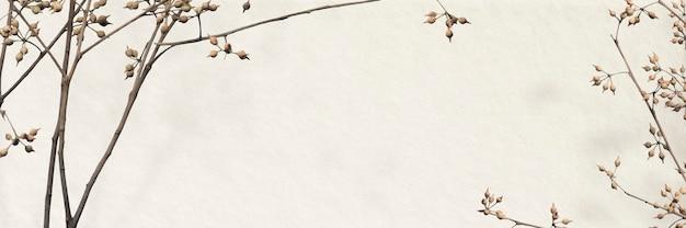 Cadre de bordure de branche sèche fond de bannière beige