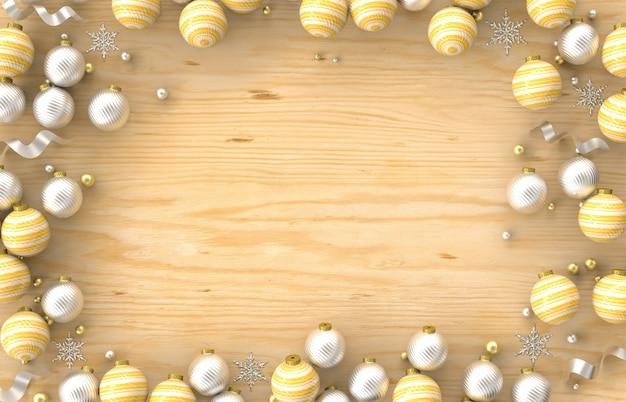 Cadre de bordure de décoration 3d de noël avec boule de noël, flocon de neige sur fond de bois. noël, hiver, nouvel an. mise à plat, vue de dessus, fond.