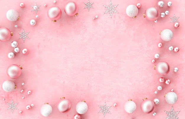 Cadre de bordure de décoration 3d de noël avec boule de noël, flocon de neige sur fond rose. noël, hiver, nouvel an. mise à plat, vue de dessus, fond.