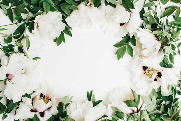 Cadre de bouquet de fleurs de pivoine blanche sur une surface blanche
