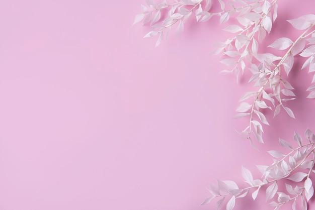 Cadre de branches blanches avec des feuilles sur fond rose