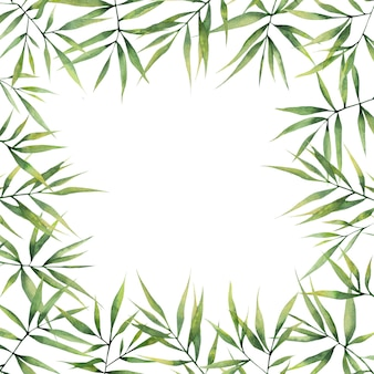 Cadre carré aquarelle avec des feuilles de bambou vert sur fond blanc
