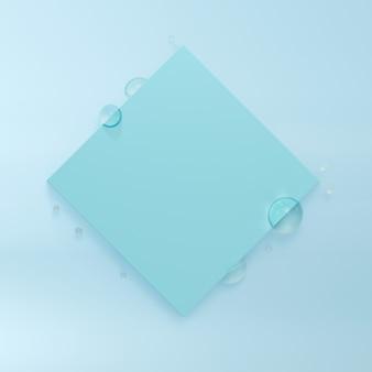 Cadre carré avec gouttelettes d'eau. rendu 3d